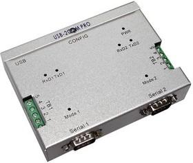 Фото 1/4 USB-2COM PRO, 2-портовый преобразователь USB в RS-232/422/485, крепление на DIN-рейку, Jumperless