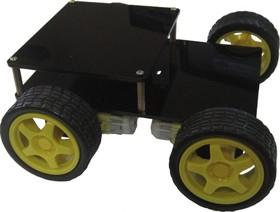 Шасси 4-х моторное с дополнительной плитой, Конструктор мобильной платформы для роботехники (черный)