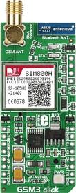 Фото 1/4 MIKROE-1720, GSM3 click, Встраиваемый GSM/GPRS (850/900/1800/1900МГц) модуль форм фактора mikroBUS на основе SIM800H