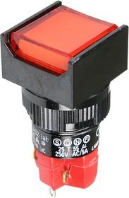 D16LAS2-1ABKR, кнопка с фикс. 250В/5А, LED подсветка 24В,