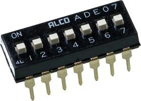 ADE0704, DIP-перекл.7 поз.2.54мм,24В/ 100мА,1825057-6