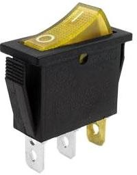 Фото 1/2 IRS-101-1C3D (желтый), Переключатель с подсветкой ON-OFF (15A 250VAC, 20A 12VDC) SPST 3P
