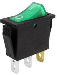Фото 1/2 IRS-101-1C3D (зеленый), Переключатель с подсветкой ON-OFF (15A 250VAC, 20A 12VDC) SPST 3P