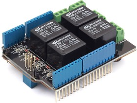 Фото 1/7 Relay Shield v3.0, Arduino-совместимая плата с 4-мя реле