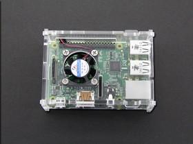 Фото 1/4 Acrylic Case for Raspberry Pi Model B+ / Pi2/Pi3 w/ CPU Fan [CLEAR], Корпус для одноплатного компьютера Raspberry Pi Model B+ / Pi2/P3 с ве