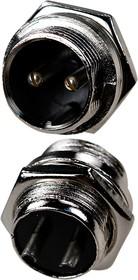 "1-562-2, разъем MIC 2pin ""штекер"" металл на корпус"