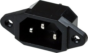 """3-024,(SS-7B), Вилка сетевая """"3 PIN"""" пластик на корпус 250V 10A"""