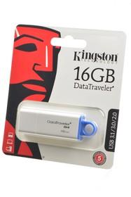 KINGSTON USB 3.1/3.0/2.0 16GB DataTraveler G4 белый c синим BL1, Носитель информации