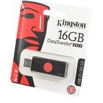 KINGSTON USB 3.1/3.0/2.0 16GB DataTraveler DT106 черный с ...