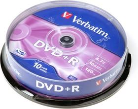 Verbatim 43498 DVD+R 4.7 GB 16x CB/10, Записываемый компакт-диск