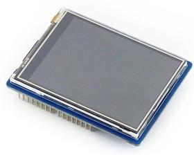Фото 1/4 2.8inch TFT Touch Shield, TFT дисплей 320×240px с резистивной сенсорной панелью совместимый с Arduino UNO/Leonardo, UNO PLUS