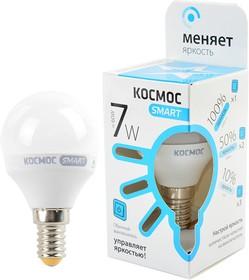 Фото 1/2 КОСМОС SMART LEDSD7wGL45E1445 7Вт E14 4500K, 3 уровня яркости - 100%/50%/10%, Лампа светодиодная