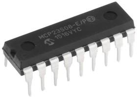 MCP23S08-E/P, Расширитель I/O, 8бит, 10 МГц, Последовательный, SPI, 1.8 В, 5.5 В [DIP-18]