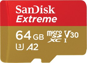 SDSQXA2-064G-GN6AA, Флеш-накопитель Sandisk Карта памяти Sandisk Extreme microSDXC 64GB for Action Cams and Drones + SD
