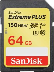 SDSDXW6-064G-GNCIN, Флеш-накопитель Sandisk Карта памяти Sandisk Extreme Plus SDXC Card 64GB, 150MB/s V30 UHS-I U3