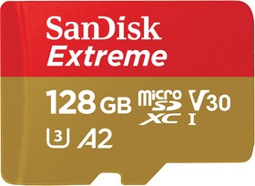 SDSQXA1-128G-GN6AA, Флеш-накопитель Sandisk Карта памяти SanDisk Extreme microSDXC 128GB for Action Cams and Drones + SD