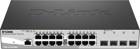 DGS-1210-20/ME/A1A, Gigabit Smart Switch with 16 10/100/1000Base-T ports and 4 Gigabit SFP ports