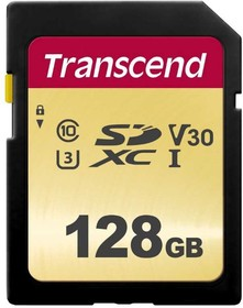 Фото 1/2 TS128GSDC500S, Флеш-накопитель Transcend Карта памяти Transcend 128GB UHS-I U3 SD card MLC