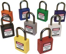 Компактные блокирующие замки, гибкая стальная дужка в ПВХ изоляции, высота дужки 100 мм, диаметр дужки 4.7 мм, цвет - красный, 1 ключ, элект