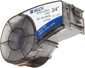 M21-500-595-BL лента 12.7mm/6.4m винил, белый на синем