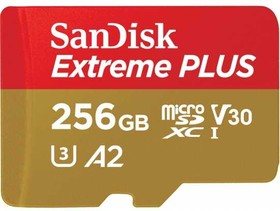 SDSQXBZ-256G-GN6MA, Флеш-накопитель Sandisk Карта памяти Sandisk Extreme Plus microSDXC 256GB + SD Adapter + Rescue Pro
