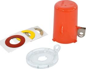 Блокиратор пусковой/аварийной кнопки средний (до 22 мм), красный, 50мм х 64мм х 9мм. (в комплекте три наклейки: прозрачная, желтая, красная)