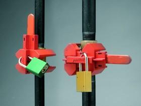 Большое устройство (блокирует вентили в позициях «открыто» и «закрыто»), красное, трубы диам. от 50 до 200 мм