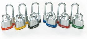 Стальные замки, высота дужки 51 мм, диаметр дужки 7 мм, цвет бампера - черный, 1 ключ, устойчив к низкой температуре (6 шт/к-т)