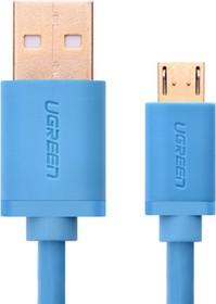Фото 1/2 UG-10870, Кабель интерфейсный USB 2.0 1.0m Premium UGreen, AM / microB 5pin, 28 / 24 AWG экран, голубой