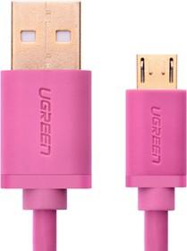 UG-10858, Кабель интерфейсный USB 2.0 1.0m Premium UGreen, AM / microB 5pin, 28 / 24 AWG экран, розовый