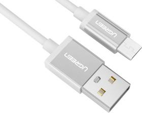 Фото 1/8 UG-10829, Кабель интерфейсный USB 2.0 1.0m Premium UGreen, AM / microB 5pin, 28 / 24 AWG экран, белый, серебр