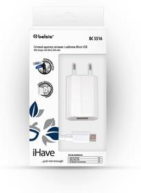 Фото 1/2 BC5516, Адаптер питания сетевой c кабелем для Micro USB