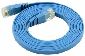 Фото 1/2 GC-C5EUFC-1.0m, Патч-корд прямой ethernet 1.0m UTP Greenconnect кат.5e, RJ45, CU, 32 AWG, литой, синий, плоский