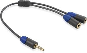 GC-AVC31, Переходник-разветвитель аудио 0.30m jack 3,5mm/2*jack 3,5mm AM/AF, Greenconnect, черный