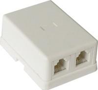 GA-TLUS-023, Телефонная розетка двухпортовая, накладная, 2x RJ11 6p4c, белая