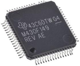 MSP430F149IPM, Микроконтроллер 16-Бит, MSP430, Mixed-Signal, 8МГц, 60КБ Flash [QFP-64]