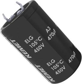 ELG227M250AQ2AA, Электролитический конденсатор, фиксация защелкой, 220 мкФ, 250 В, серия ELG, 2000 часов при 105°C