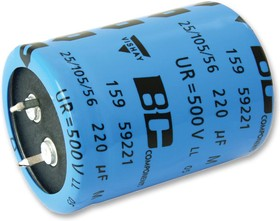 Фото 1/2 MAL215959101E3, Электролитический конденсатор, фиксация защелкой, 100 мкФ, 500 В, Серия 159 PUL-SI