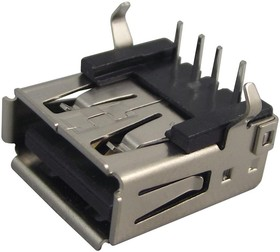 AJT21G4413-001, Разъем USB, USB Типа A, USB 2.0, Гнездо, 4 вывод(-ов), Монтаж в Сквозное Отверстие, Прямой Угол