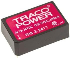 THB 3-2411, Module DC-DC 24VIN 1-OUT 5V 0.6A 3W 5-Pin DIP