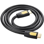Фото 2/6 UG-10129, Кабель 2.0m HDMI/HDMI v1.4, Ethernet High speed 19M/19M UGreen , экран, черно-желтый