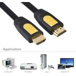 Фото 6/6 UG-10115, Кабель 1.0m HDMI/HDMI v1.4, Ethernet High speed 19M/19M UGreen , экран, черно-желтый