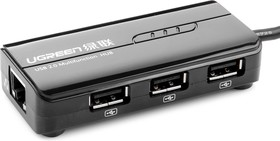 Фото 1/3 UG-30289, USB Type C Тип CM -  LAN RJ-45 + USB 2.0-хаб на 3 порта адаптер UGreen, черный