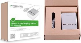 Фото 1/2 UG-20385, Сетевая зарядка на 3 USB порта UGreen черная