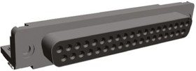 5747847-4, Conn D-Subminiature SKT 37 POS 2.76mm Solder RA Thru-Hole 37 Terminal 1 Port Frame