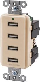 USB4LA, CONNECTOR, 4PORT USB, RCPT, 125V