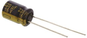EEUFC1C221, Cap Aluminum Lytic 220uF 16V 20% (8 X 11.5mm) Radial 3.5mm 555mA 2000h 105C Automotive Bulk