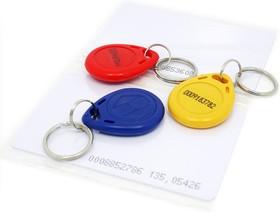 RFID tag combo (125khz) - 5 pcs, Набор RFID-меток (2 карты, 3 ключа-брелка), EM4100 стандарт, 125 КГц