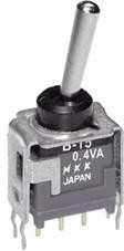 B15AB, Switch Toggle ON None (ON) SPDT Bat Lever PC Pins 0.1A 28VAC 28VDC 0.4VA PC Mount with Bracket