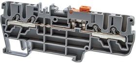 PYK2,5CCA (серый), Клеммник пруж.быстрозажимной (Push in) 4-х выводной, с размыкателем, 2,5 мм.кв.